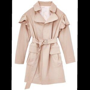 {REBECCA•TAYLOR} Faille Ruffle Trench Coat Sz M